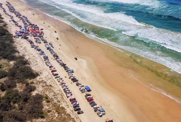 4x4 Pink Run Aerial Drone Shot Teewah Beach