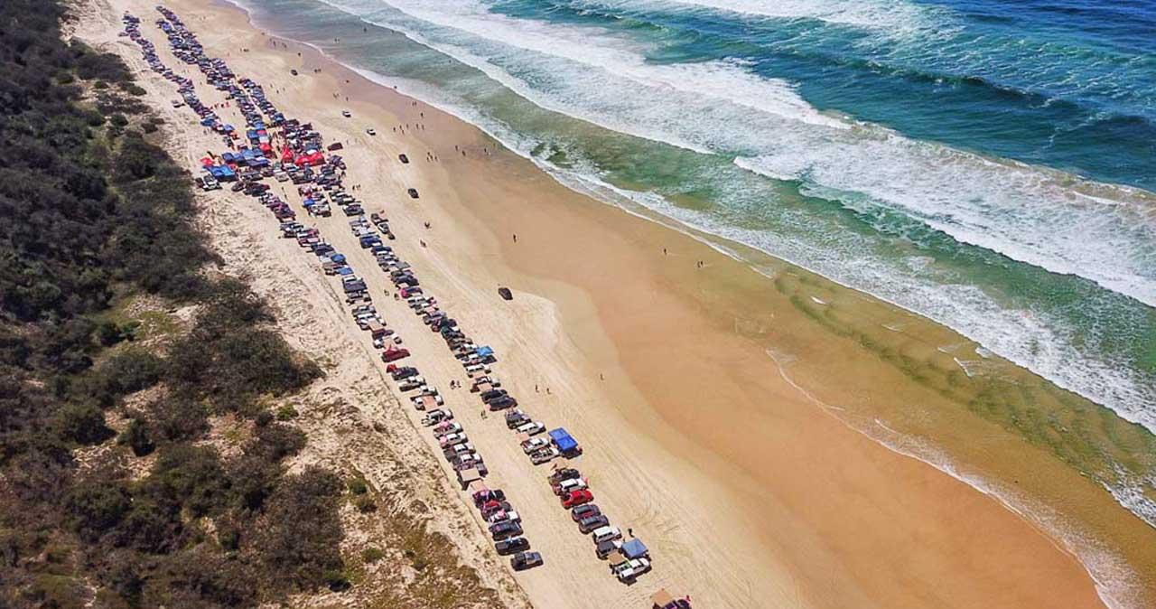 4x4 Pink Run Aerial Drone Shot Teewah Beach