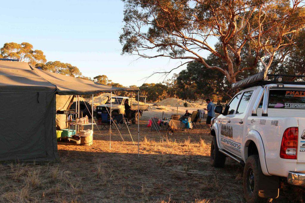Campsite set up at Whitegum Farm