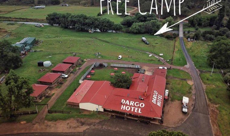 Free camping along creek at Dargo Hotel