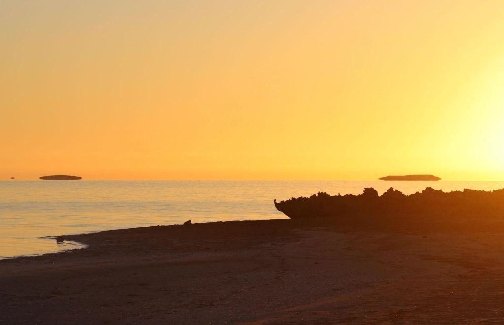 Sunset over the ocean Shark Bay