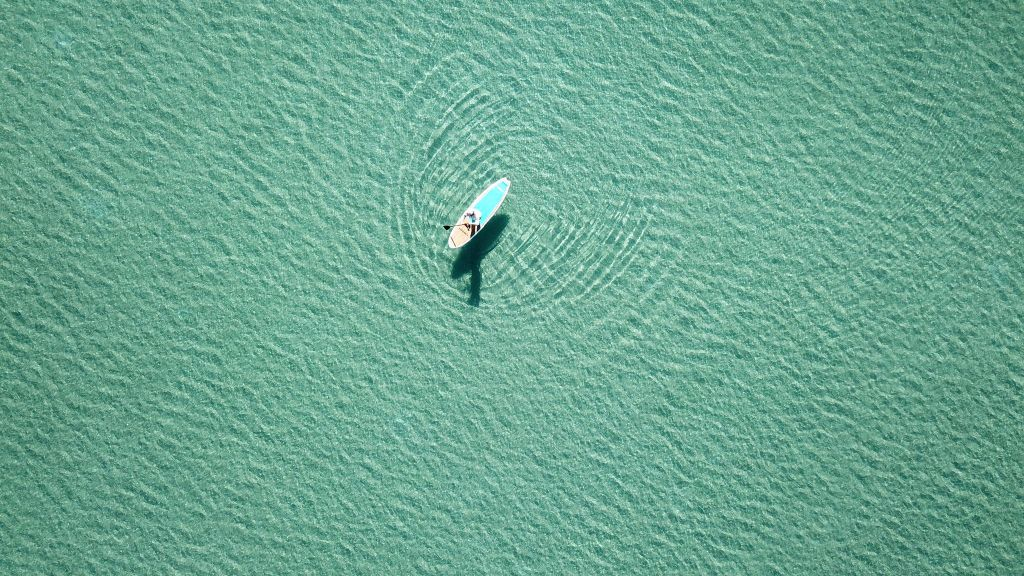 Aerial View Stand Up Paddle Board SUP