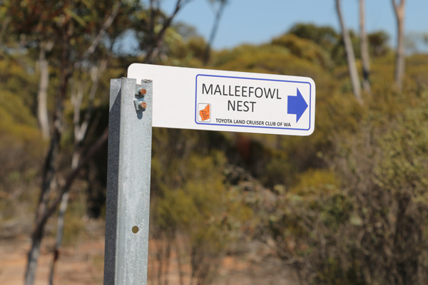 Sign to Malleefowl nest Holland Track